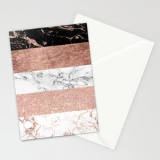 Modern chic color block rose gold marble stripes pattern Stationery Cards