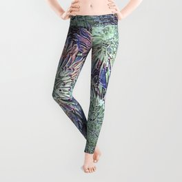 Artfully abstract blooming ice flowers Leggings