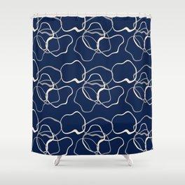 lignes bleues courbes Shower Curtain