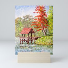 Red Roofed Pier at Autumn Mini Art Print