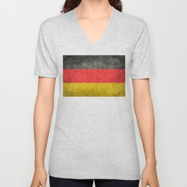 German National flag, Vintage retro patina Unisex V-Neck
