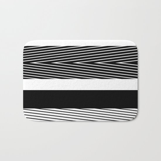 Black and white abstract striped pattern th striped Bath Mat