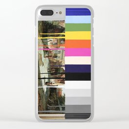 Garage Sale Painting of Peasants with Color Bars Clear iPhone Case