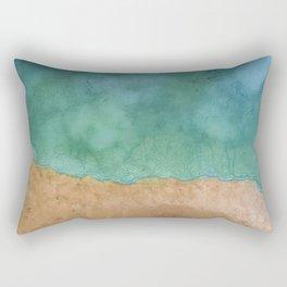 Blue Ocean Sea Shoreline - Drone photography Rectangular Pillow