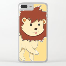Happy Cartoon Baby Lion Clear iPhone Case