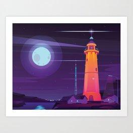 Midnight Lighthouse in Midcentury Illustration Style Art Print
