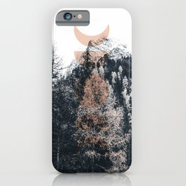 Peach Moon Phases Forest iPhone Case