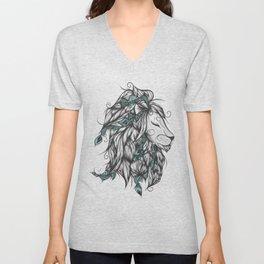 Poetic Lion Turquoise Unisex V-Neck