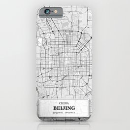 Beijing,China City Map with GPS Coordinates iPhone Case