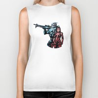 garrus Biker Tanks featuring No Shepard Without Vakarian by Weissidian