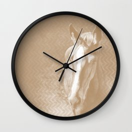 Horse emerging from the mist in iced coffee beige Wall Clock