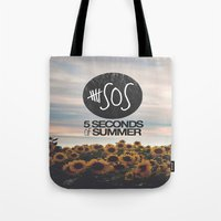 5 seconds of summer Tote Bags featuring 5 seconds of summer sunflowers by Rose