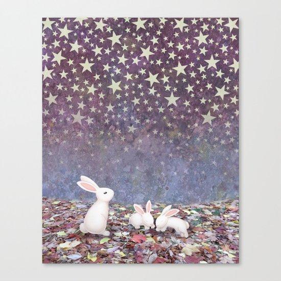 bunnies under the stars Canvas Print