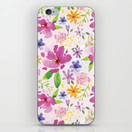Whimsical Girly Flower Pattern iPhone Skin