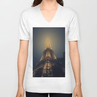 eiffel tower V-neck T-shirts featuring Eiffel Tower  by cchelle135
