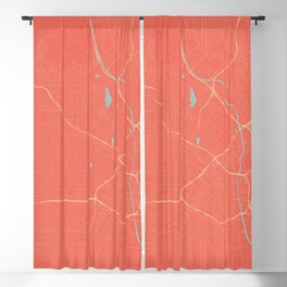 Los Angeles, California City Map in Coral Pink Blackout Curtain