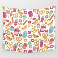 carnival Wall Tapestries featuring Carnival Food  by Jacqui Lee