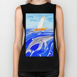 humpback whale and polynesian outrigger sail boat Biker Tank