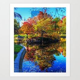 Autumn in the Boston Public Garden Boston MA Art Print