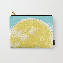 Large Sun Print, blue & yellow solar design by Little Lark Carry-All Pouch