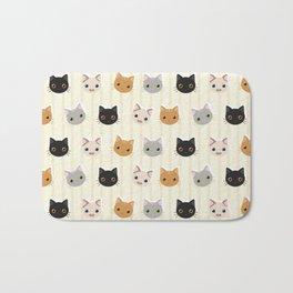 Cute Kitten & Stripes Pattern Bath Mat