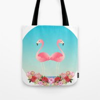 flamingos Tote Bags featuring Flamingos by Juliana Zimmermann
