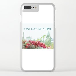 One Day at a Time Fence Flowers Clear iPhone Case