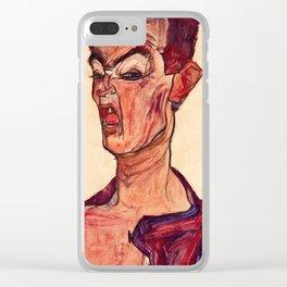 Egon Schiele - Self-Portrait, Grimacing Clear iPhone Case