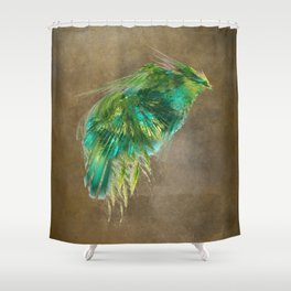Green Bird - Fractal Art Shower Curtain