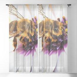 Springtime Honeybee On White African Daisy Sheer Curtain