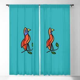 Color Bird on a Twig on Blue Blackout Curtain