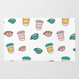 Happy coffee cups and mugs Rug