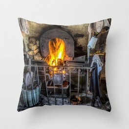 Victorian Fire Place Throw Pillow