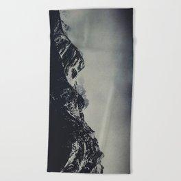 Misty Dark Mountain Peaks in the Italian Alps Beach Towel
