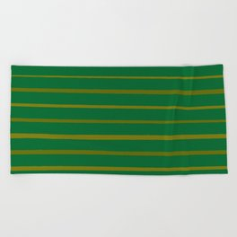 Emerald Green and Honey Gold Thin Stripes Beach Towel