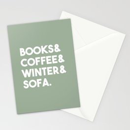 Books, coffee, winter, sofa Stationery Cards