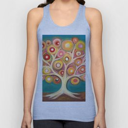 Tree of life with colorful abstract circles Unisex Tank Top