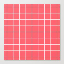 Coral Red Grid Canvas Print