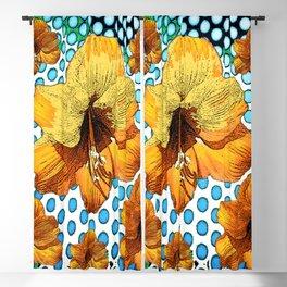 MODERN YELLOW AMARYLLIS  WHITE-BLUE PATTERN ART Blackout Curtain