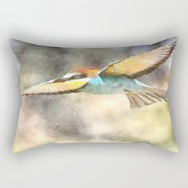 European Bee Eater In Flight Watercolor Rectangular Pillow