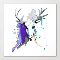 Christmas Watercolor Reindeer Canvas Print