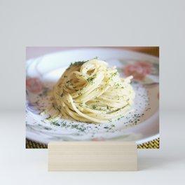 Spaghetti with parsley, ginger and garlic. Mini Art Print