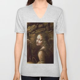 """Leonardo da Vinci """"The Virgin of the Rocks (London)"""" Angel Unisex V-Neck"""