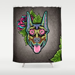 Doberman with Cropped Ears - Day of the Dead Sugar Skull Dog Shower Curtain