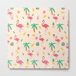 Summer pink watercolor tropical flamingo floral Metal Print