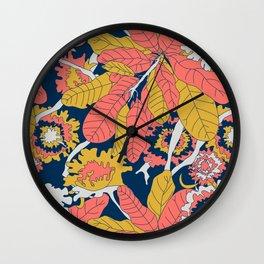 Limited Color Palette Bold Jungle Leaf Floral Wall Clock