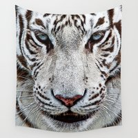 tigers Wall Tapestries featuring BLUE-EYED BOY by Catspaws