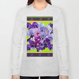 SPRING COLLECTION PURPLE-PINK PANSIES DESIGN Long Sleeve T-shirt