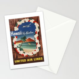 1950 Hawaii United Airlines Travel Poster Stationery Cards