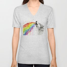Wolf Rainbow Watercolor Animal Unisex V-Neck
